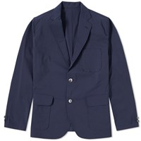 Beams Plus 3 Button Seersucker Blazer Blue