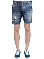 Dsquared2 Washed Destroyed Cotton Denim Shorts