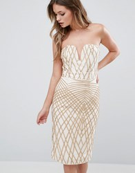 Tfnc Sweetheart Pencil Dress In Diamond Sequin Cream Gold