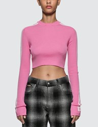 Fiorucci Knit Logo Cropped Top Pink