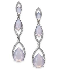 Inc International Concepts I.N.C. Silver Tone Stone Triple Drop Earrings Created For Macy's Purple
