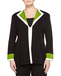 Misook Colorblock Trim Button Detail Jacket Black Ivory Green