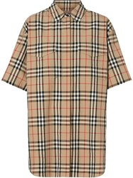 Burberry Short Sleeve Vintage Check Cotton Oversized Shirt Neutrals