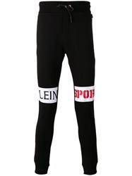 Plein Sport Knee Logo Print Sweatpants Black