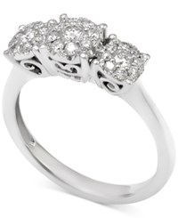 Macy's Diamond Cluster Trio Engagement Ring 1 Ct. T.W. In 14K White Gold