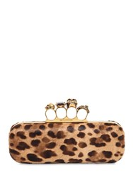 Alexander Mcqueen 4 Ring Leo Printed Ponyskin Clutch Natural Black