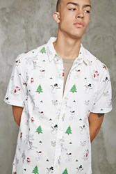 Forever 21 Slim Fit Christmas Print Shirt Cream Multi