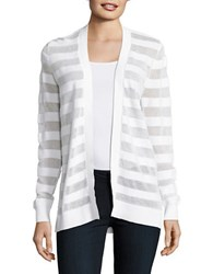 Michael Michael Kors Petite Striped Open Front Cardigan White