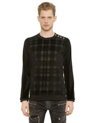 Balmain Plaid Velvet And Jersey Sweatshirt
