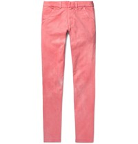 The Elder Statesman Slim Fit Cotton Twill Trousers Pink
