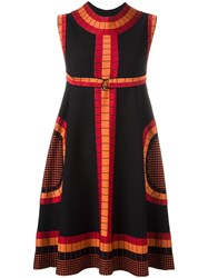 Azzedine Alaia Geometric Print Dress Black