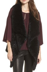 Love Token Long Drape Genuine Rabbit Fur Vest Black