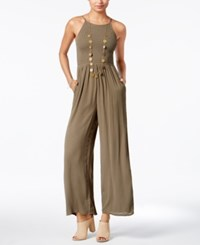 American Rag Smocked Wide Leg Jumpsuit Only At Macy's Dusty Olive