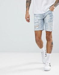 Asos Denim Shorts In Skinny Light Wash With Heavy Rips Light Wash Blue