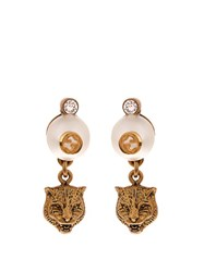 Gucci Feline Pearl Effect Drop Earrings Yellow Gold