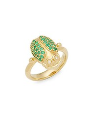Temple St. Clair Diamond Crystal And 18K Yellow Gold Ring Green