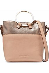 Halston Metallic Cracked And Smooth Leather Shoulder Bag Blush