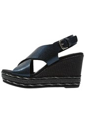 Kanna Platform Sandals Blue Navy Dark Blue