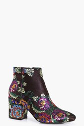 Boohoo Beatrice Multi Floral Ankle Boot Brown