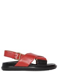 Marni 20Mm Crisscross Leather Flat Sandals Black