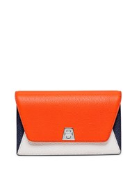 Anouk Leather Chain Envelope Clutch Bag Orange Multi Akris