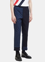 Thom Browne Contrast Seersucker Striped Patchwork Pants Navy