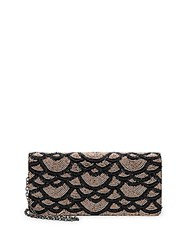 La Regale Fully Beaded Faux Leather Convertible Clutch Black