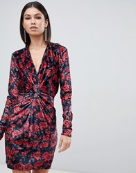 Club L Floral Printed Knot Front Mini Dress In Velvet Red