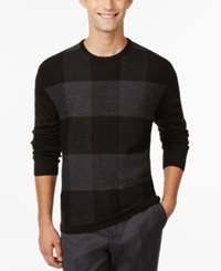 Ryan Seacrest Distinction Felted Buffalo Plaid Crew Neck Sweater Only At Macy's Black
