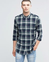 New Look Check Shirt With Long Sleeves In Navy And Green In Regular Fit Navy