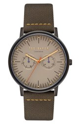 Ted Baker London Brit Leather Strap Watch 40Mm Light Brown Dark Green