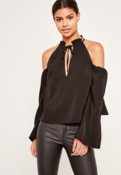 Missguided Frill Detail Tie Front Cold Shoulder Top Black