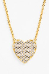 Sugar Bean Jewelry Pave Heart Pendant Necklace Metallic