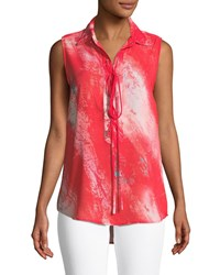 Alberto Makali Abstract Woven Lace Up Sleeveless Tank Red