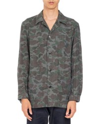 Dries Van Noten Cardiff Camo Print Linen Shirt Dark Green