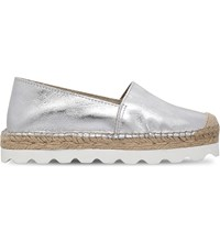 Carvela Lido Metallic Leather Flatform Espadrilles Silver