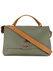 Zanellato Patterned Shoulder Bag With Contrast Handles And Shoulder Strap Green