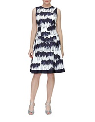Carmen Marc Valvo Silk Blend Balloon Print Fit And Flare Dress Ivory Midnite