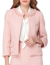 Tahari By Arthur S. Levine Fringe And Pearl Embroidered Neck Open Jacket Palm Pink
