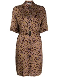 Paul Smith Ps Cheetah Print Shirt Dress Brown