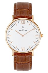 Kapten And Son Campina Leather Strap Watch 36Mm Brown White Rose Gold