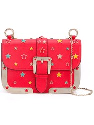 Red Valentino Star Studded Crossbody Bag Women Cotton Calf Leather Leather Metal One Size Red