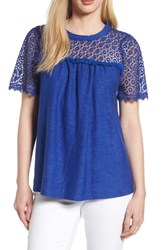 Everleigh Lace Mixed Media Top Royal Blue