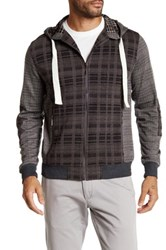 Smash Plaid Graph Zip Front Hoodie Gray