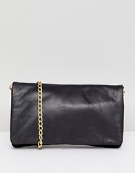 Urbancode Leather Cross Body Bag With Chain Strap Black