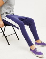 Sixth June Skinny Joggers In Blue With Side Stripe