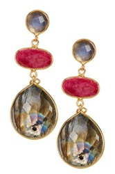 Felix And Lola 18K Gold Clad Sterling Silver Ornate Cascading Labradorite And Ruby Earrings No Color