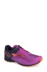 Brooks Women's Mazama Trail Running Shoe Purple Flower Hot Coral