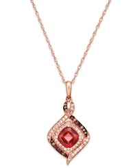 Macy's Rhodolite Garnet 1 1 3 Ct. T.W. And Diamond 1 4 Ct. T.W. Pendant Necklace In 14K Rose Gold Red