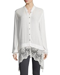 Xcvi Daisy Blouse With Lace Trim Women's Sugar